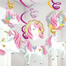 MAGICAL UNICORN HANGING SWIRLS DECORATIONS BIRTHDAY PARTY SUPPLIES
