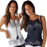 Womens Boho Tank Top Vest Sleeveless Loose Summer Beach Casual T-Shirt Blouse