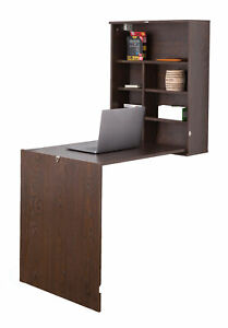 New Basicwise Wall Mount Laptop Fold-out Desk with Shelves