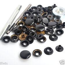 New 15 Sets 17mm Black Shinny Metal Snap Fasteners Press Studs Tools Kit Button