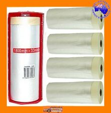 5 PCE PAINTERS HAND MASKING FILM/PLASTIC & TAPE KIT 1.8x30mt EACH. FREE HOLDER