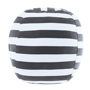 Stuffed Animal Storage Beanbag  Chair Bean Bag Covers Only White Grey Stripes