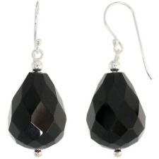 ".925 Sterling Silver Dangle Earrings Beads & Faceted Black Obsidian, 1 1/2"""