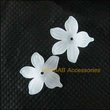 60Pcs White Plastic Acrylic Star Flower Spacer Beads end Caps 20mm