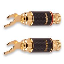 4 x Rembus HighEnd Carbon 24K vergoldete Kabelschuhe Gabelschuhe 6 - 9 mm KS-239