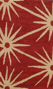 Contemporary Abstract Stars Oriental Area Rug Hand-Tufted Wool Red Carpet 3x5 ft