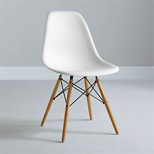 Charles Ray Eames Eiffel Inspired DSW Side Dining Room Office Wooden Legs Chair White