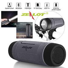 Zealot S1 Waterproof Splashproof Bluetooth Speaker Flashlight Power Bank TF FM