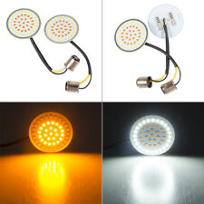 2X Bullet 1157 Amber White LED Turn Signal Inserts For Harley Touring Sportster