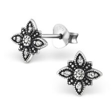925 Sterling Silver Flower with Crystal Cubic Zirconia Stud Earrings (Design 12)
