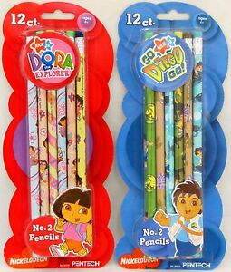 Dora the Explorer 12 Pack Pencils Go Diego Go School Nick Jr Party Favors