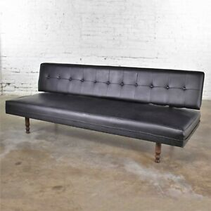 Vintage Mid Century Modern Black Vinyl Faux Leather Convertible Sofa by Universa