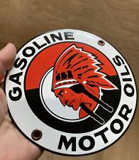 Red Indian Gas Motor Oil Gasoline porcelain Sign No reserve!