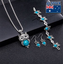 Retro Cut Blue Turquoise Owl Pendant Necklace Earrings Bracelet Set