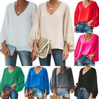Women's Long Puff Sleeve V-Neck Shirts Casual Loose Blouse Jumper Tops Plus Size