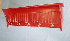 Pine Wood Coat Rack Wall Shelf 42 Inch Red with Hooks