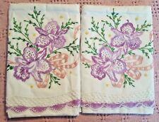 Stunning! Vintage Embroidered Purple Orchids Pillowcase Set Hand Crochet Trim