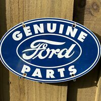 VINTAGE FORD AUTO PORCELAIN METAL SIGN USA GAS OIL SERVICE STATION MECHANIC BLUE