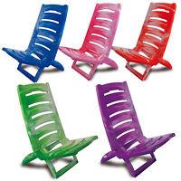 Beach Chair Marble Coloured Folding Plastic Deck Chair Sun Garden Sea Side Low