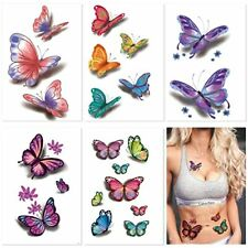 30 Sheets(120+ PCS)Butterfly Temporary Tattoos-Colorful Body Art 3D Fake Tattoos