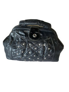 ISABEL U.S.A. BLACK LEATHER/PATENT LEATHER CRYSTAL STUDDED TOP HANDLE PURSE