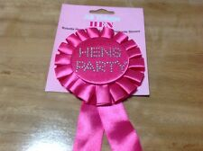 Rosette Hens Party Badge With Diamante Stones