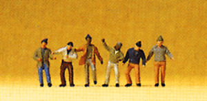 Z scale gauge Preiser SIX DOCK / WAREHOUSE WORKER Figures 80908