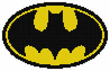 Counted Cross Stitch Pattern, Batman Emblem - Free US Shipping