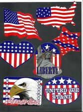 Lot of 7 USA United States Of America Flag Patriotic Stickers Pride Military