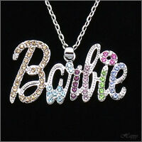 Barbie Doll Pendant Necklace Charm Costume Jewelry Crystal Multi color Accessory