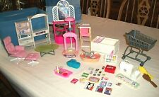 LOT OF BARBIE FURNITURE SHOPPING CART BASKETS GROCERIES MAGAZINES ETC NO RESERVE