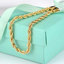 "Women's/Men's Rope Bracelet Chain 18K Yellow Gold Filled 8.6"" Charm Link"