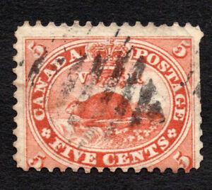 Canada 1859 Beaver #15 used 5c Vermillion, catalog value $37.50