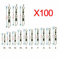 100pcs/lot ZX+BX Brass Barrel Swivel Ring With Fastlock Snap Fishing Lure Tackle