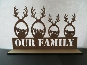 OUR FAMILY - Antlers Name Stand - Personalised Family -  MDF wood