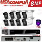 Hikvision 4K 8CH 8 PoE NVR 2MP Bullet DarkFihter Home Security Camera System lot