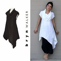 BRYN WALKER Light Linen  NOA TUNIC  Long Cowl Angle Hem 1X 2X 3X  BLACK or WHITE