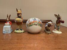 Lot Of 5 Royal Doulton Bunnykins Figurines Plus Bank Bunny Knockout Jogging 1982