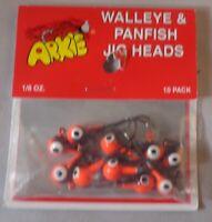 JIG HEADS, WALLEYE & PANFISH, (10) 1/8 OZ., WPK 18-91 ARKIE LURES