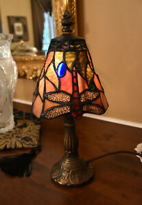 Tiffany-style Ornate butterfly lamp Bedroom Living Room Light Stained Glass Desk