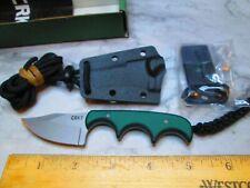 NEW Green/Black CRKT 2387 Minimalist Bowie Style Neck Knife Fixed Blade W/Sheath