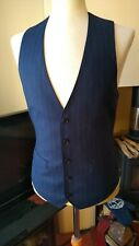 Charles Tyrwhitt Blue Pinstripe Suit Waistcoat 36 Chest 100% Wool New With Tags