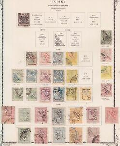 1879 1891 1892 TURKEY OVP. NEWSPAPER STAMPS OLD PAGE ALBUM MI. 36,64 -68A,74- 78