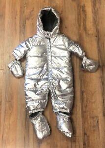 Gymboree Baby Boy/Girl Metallic Silver Puffy SnowSuit NEW!