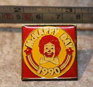 McHappy Day 1990 Ronald McDonalds Collectible Pinback Pin Button