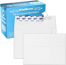 """Valbox 100 Qty A6 Envelopes Self Seal 6.5 X 4.75"""" White Kraft Paper Invitation E"""