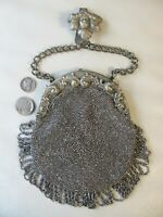 Antique Silver T Floral Steel Micro Bead Chatelaine Woman Belt Clip Kilt Purse