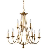 Kichler Camella 9-Light Natural Brass Traditional Candelabra Chandelier