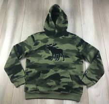 Abercrombie Kids Sweater Youth Large 13/14 Green Hoodie Camouflage Camo Fleece