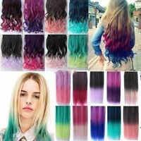 Fashion Gradient Rainbow Color Curly Straight Synthetic Clip in Hair Extensions
